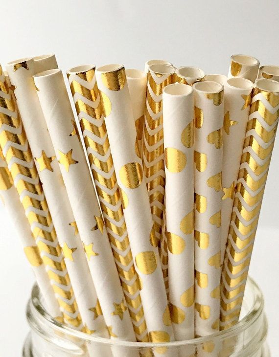 Gold Mix Paper Party Straws Pack Bridal Shower by MinasPantry