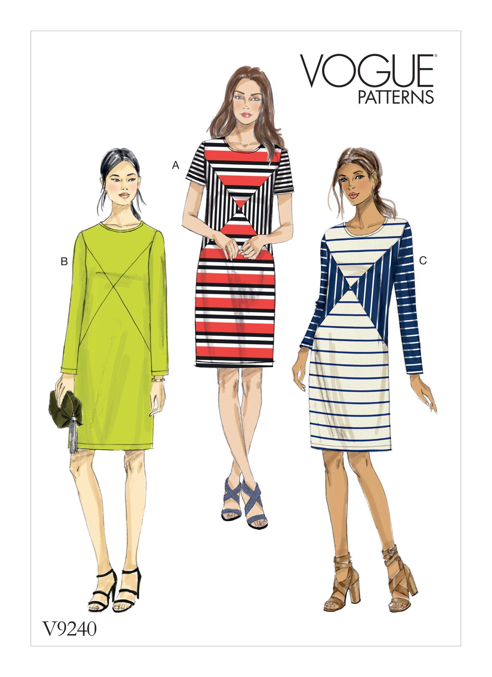 V9240 | Misses\' Knit Paneled Dresses Sewing Pattern | Vogue Patterns ...