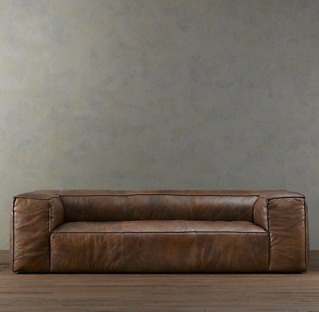 Restoration Hardware Fulham Leather Sofa With Luxe Depth, Matador Nutmeg  Leather