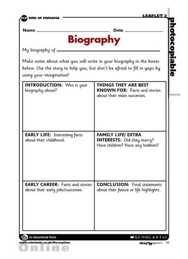Biography Planning Frame Writing A Biography Autobiography Writing