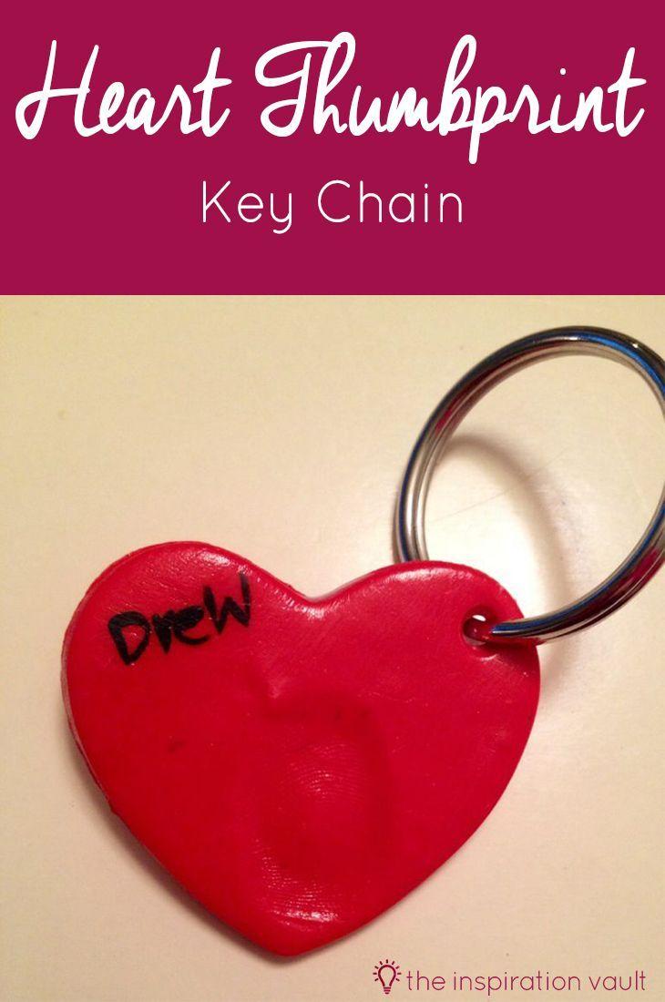 Heart Thumbprint Key Chain Polymer Clay Crafts Clay Keychain
