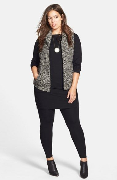 Eileen Fisher Sweater Vest Jersey Top Skirted Leggings Plus Size