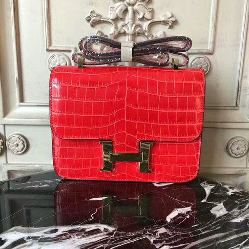 0b42fc1d9b6f Classic Hermes 23cm Constance Bag in Cherry Croc-embossed Leather ...