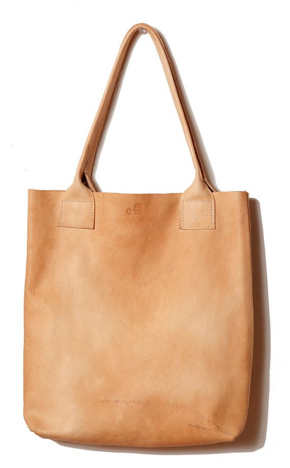 Handmade PURE vegetable tanned leather natural floppy shopper TOTE ...