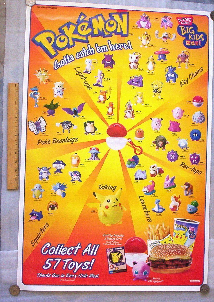 Burger King Pokemon Promo 1999 Poster Video Game