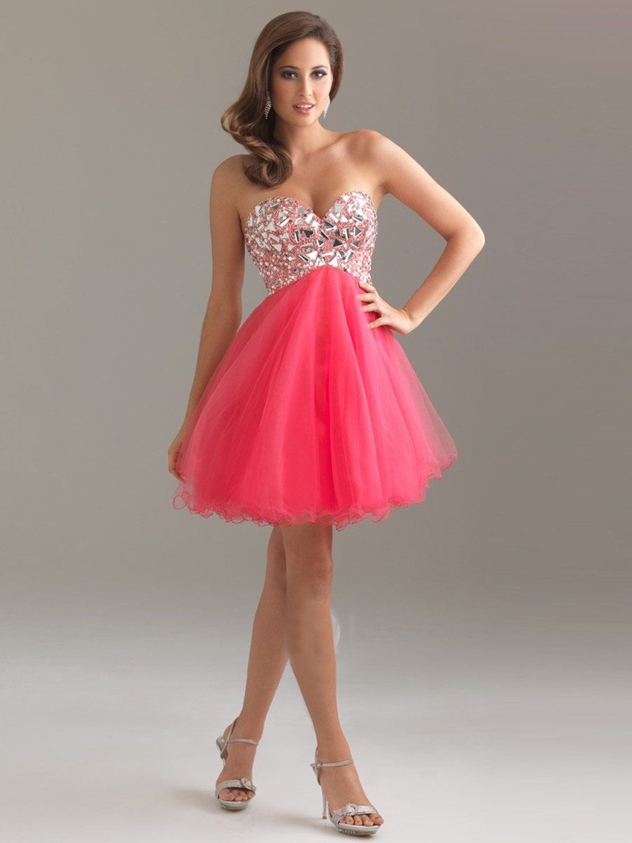 Hot Pink Short Prom Cocktail Dress Organza Rhinestone Bodice ...