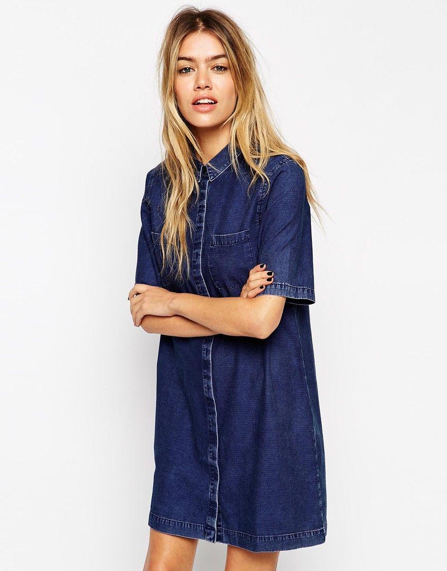 ASOS - Robe chemise en jean à poche plaquée   Wear Denim   des ... 2ff0a27f8469
