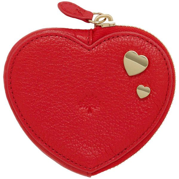Valentines Heart Zip Purse Valentines Red Glossy Goat ($210) ❤ liked on Polyvore