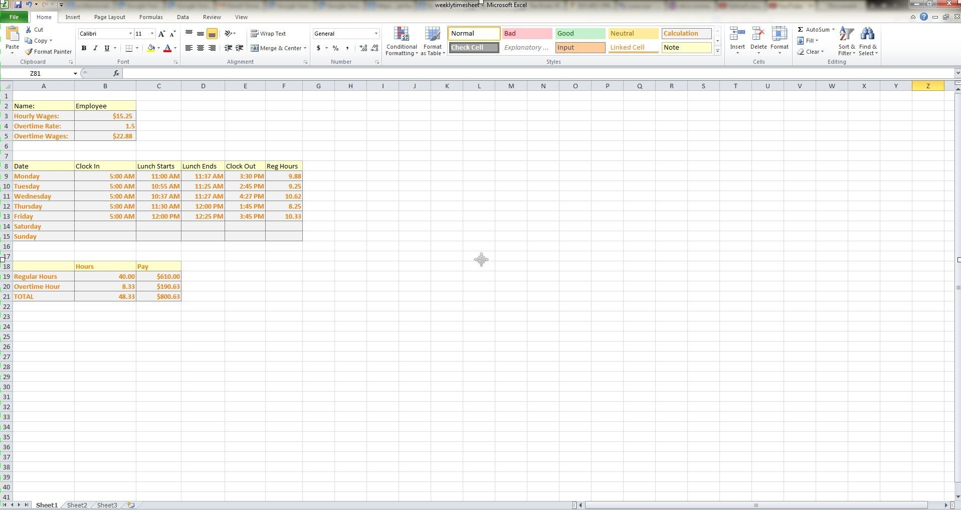 how to make a weekly timesheet calculator in microsoft excel on