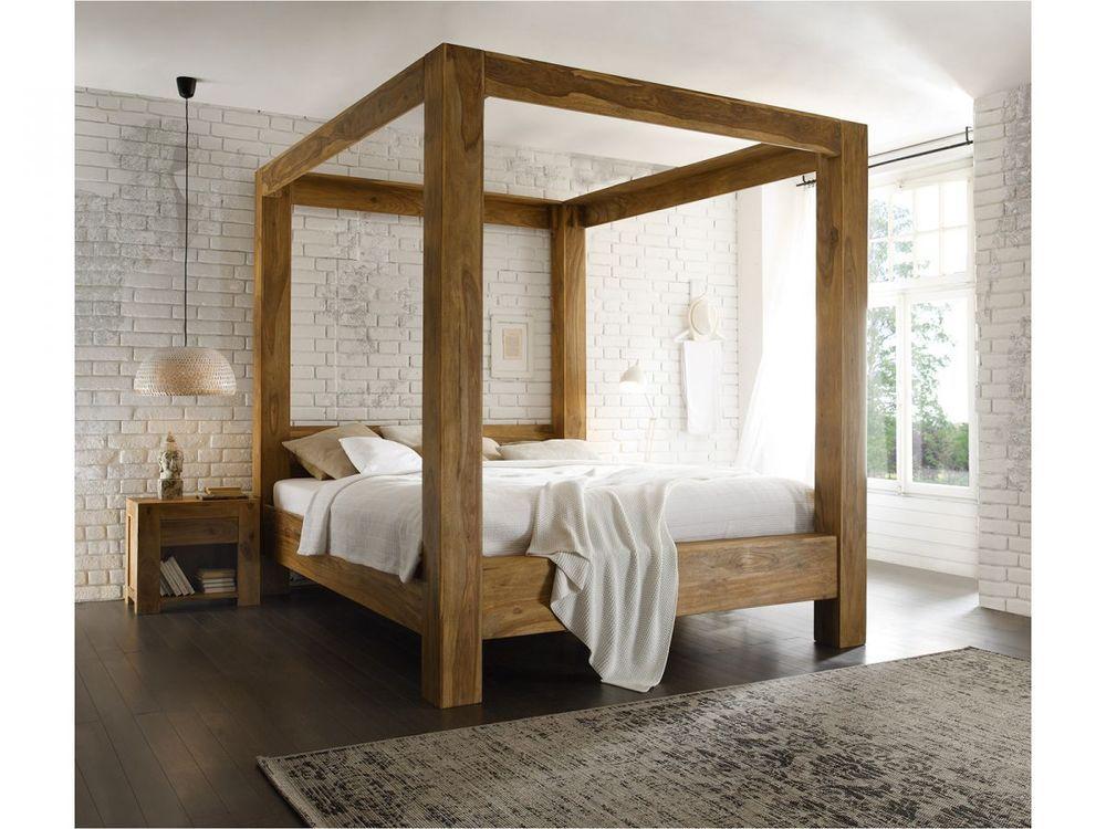 LIT À BALDAQUIN 180x200 cm bois de palissandre ciré FINITION TECK ...