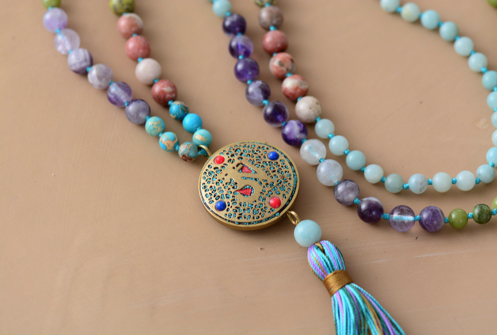 Colorful Gemstone Necklace Tassel Pendant Hippie Bohemian Long Necklace-No Clasp Rainbow Gemstone Necklace with Tassel Hand Knotted