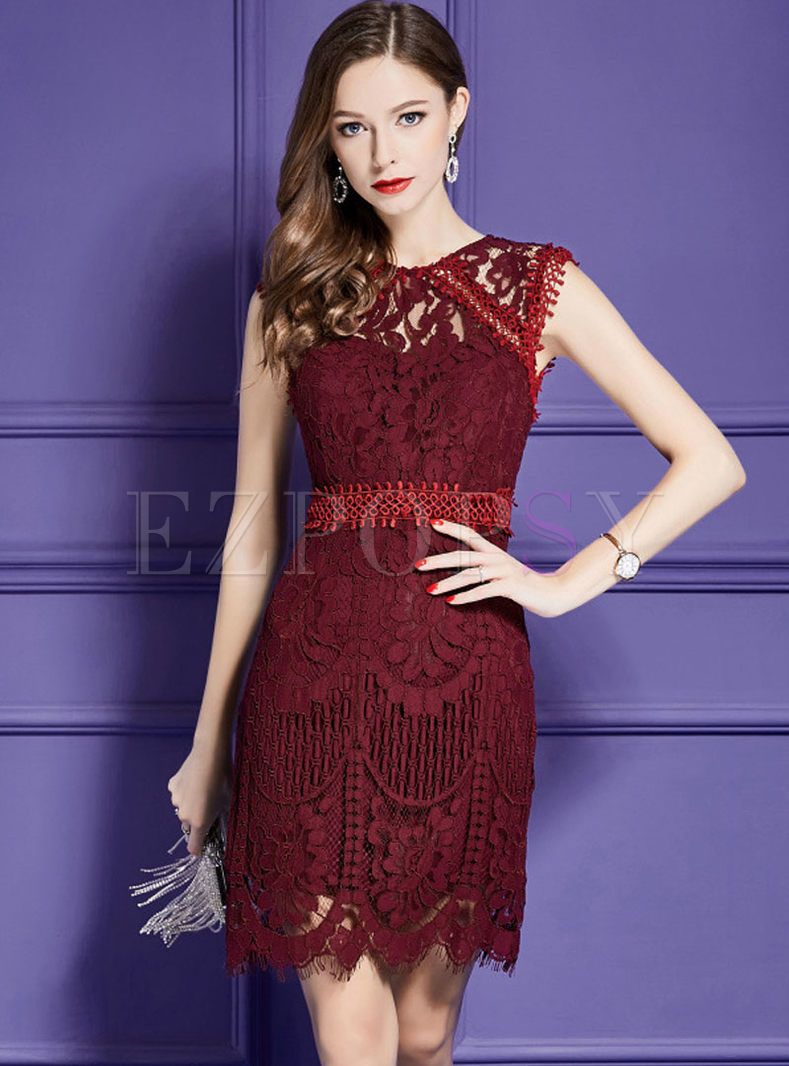 Deep Red Lace Hollow Out Splicing Elegant Sheath Dress Red Cocktail Dress Trendy Cocktail Dresses Dresses [ 1066 x 789 Pixel ]
