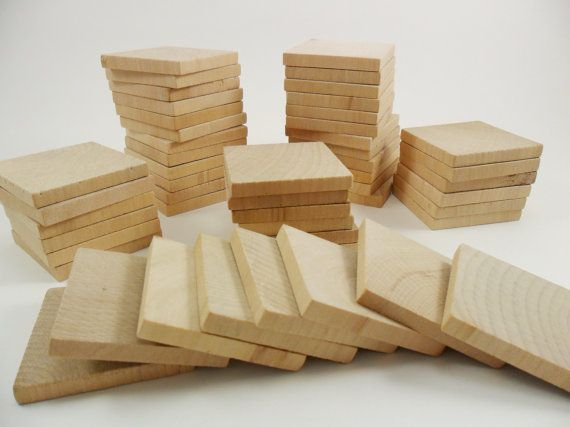 50 Squares 2 x 2 x 1/4 Unfinished Wood Tiles by CraftingDaily