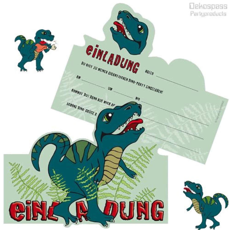 6 einladungskarten * dinosaurier / t-rex * für