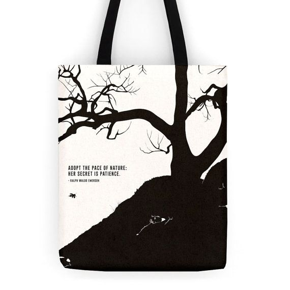 Literary tote bag Emerson canvas shopping bag by ObviousState