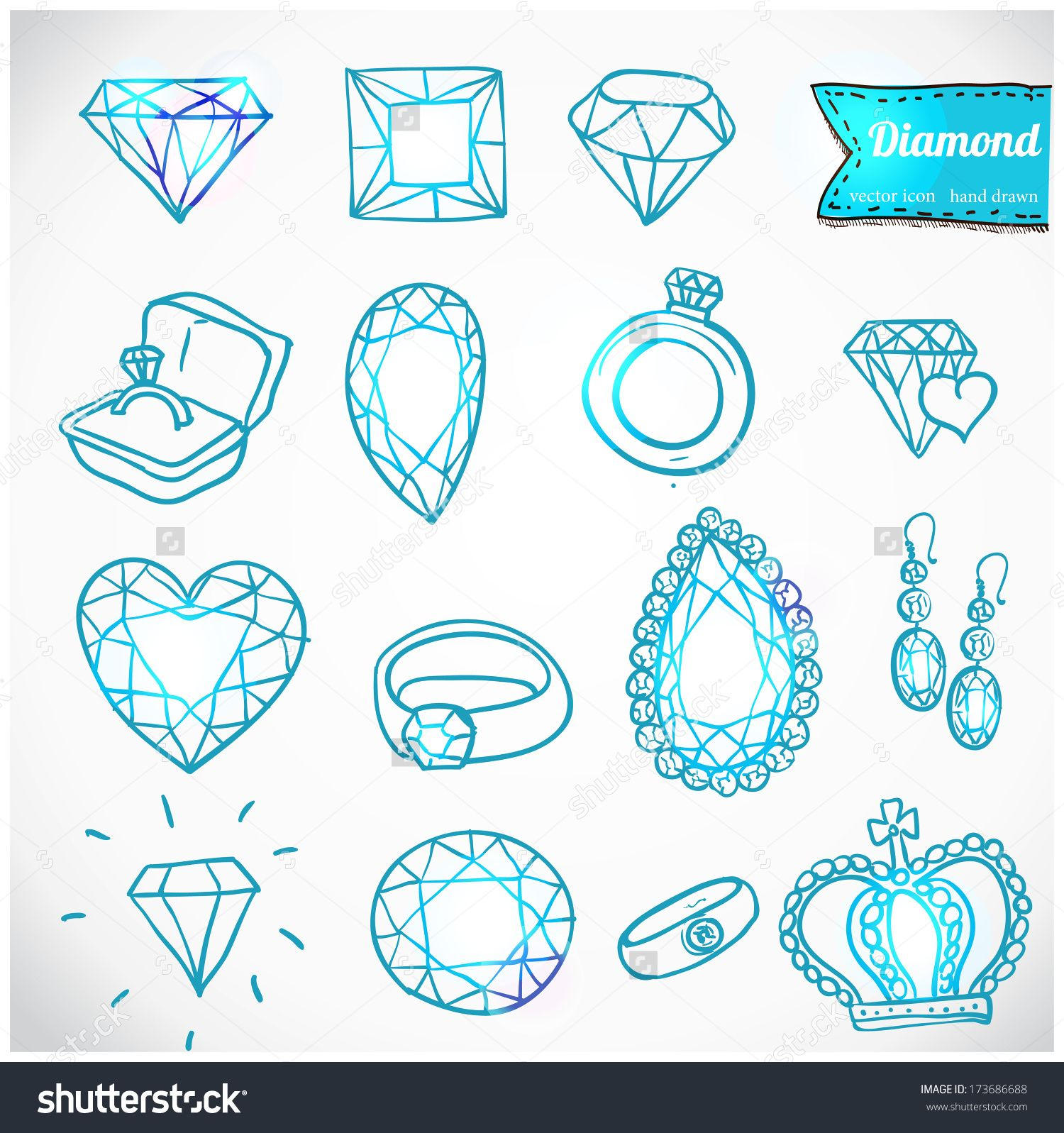 Diamond Vector Icons Set, Doodles Design Element - 173686688 ...