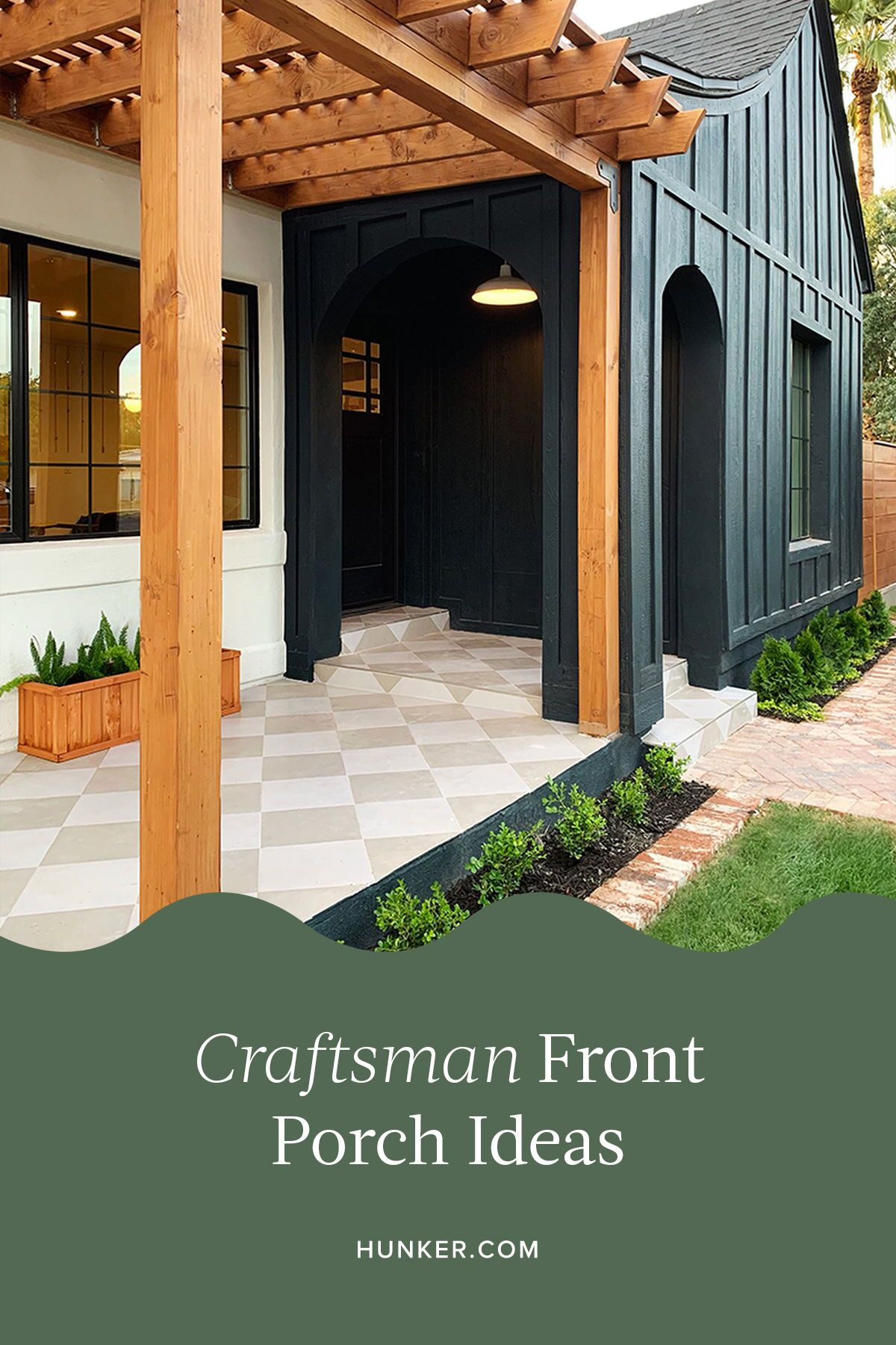 Craftsman-style interiors are certainly classic and beautiful, with their dark woods, stained glass windows, and fireplaces acting as centerpieces. You'll absolutely love these eight Craftsman front porch ideas as much as we do. #hunkerhome #craftsman #frontporch #porchideas #frontporchideas