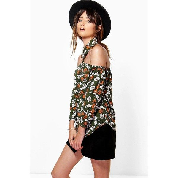 Boohoo Mandy Floral Print Cut Out Detail Shirt ($22) ❤ liked on Polyvore featuring tops, khaki, basic t shirt, long sleeve shirts, cut out crop top, ribbed crop top and long-sleeve crop tops