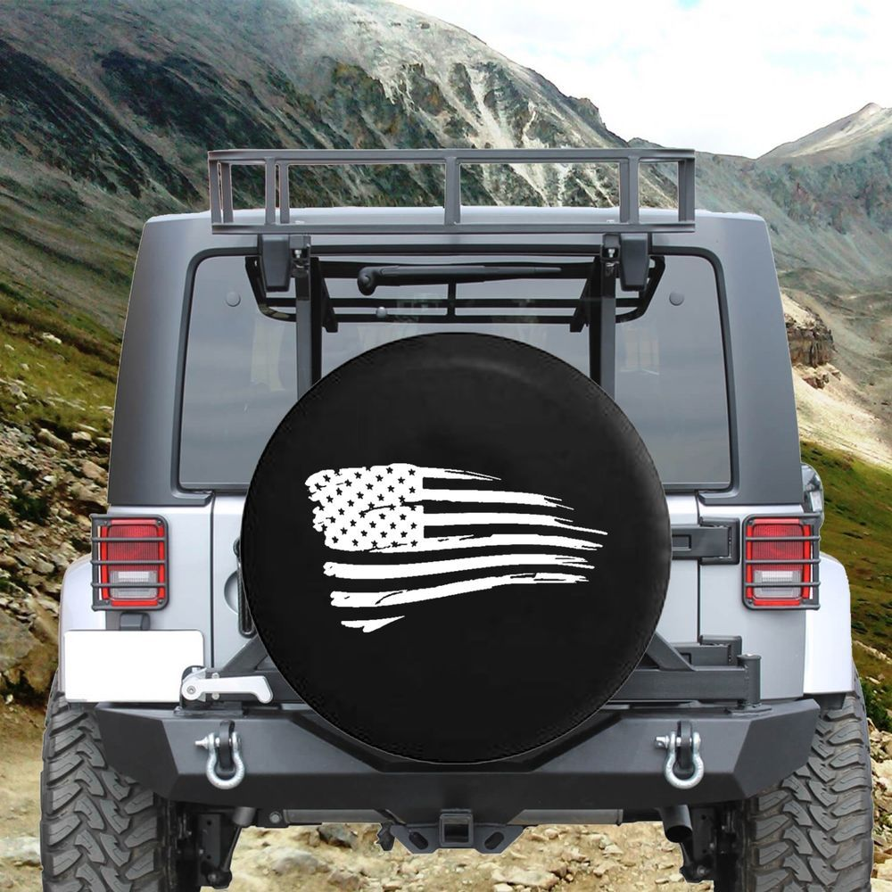 Details About Spare Tire Cover Waving American Tattered Flag