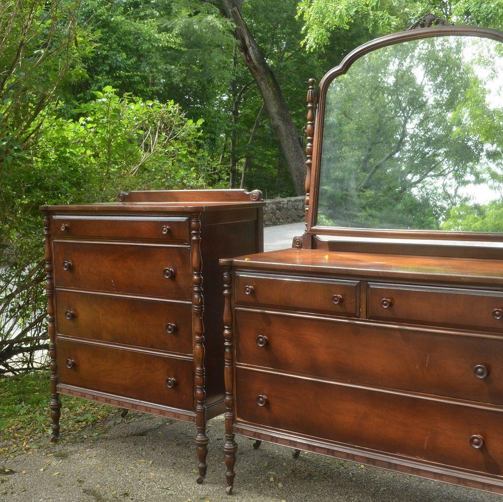 Antique Walnut Wood Federal Style Bedroom Dresser Set Mirror Chest & High  Boy - Antique Walnut Wood Federal Style Bedroom Dresser Set Mirror Chest