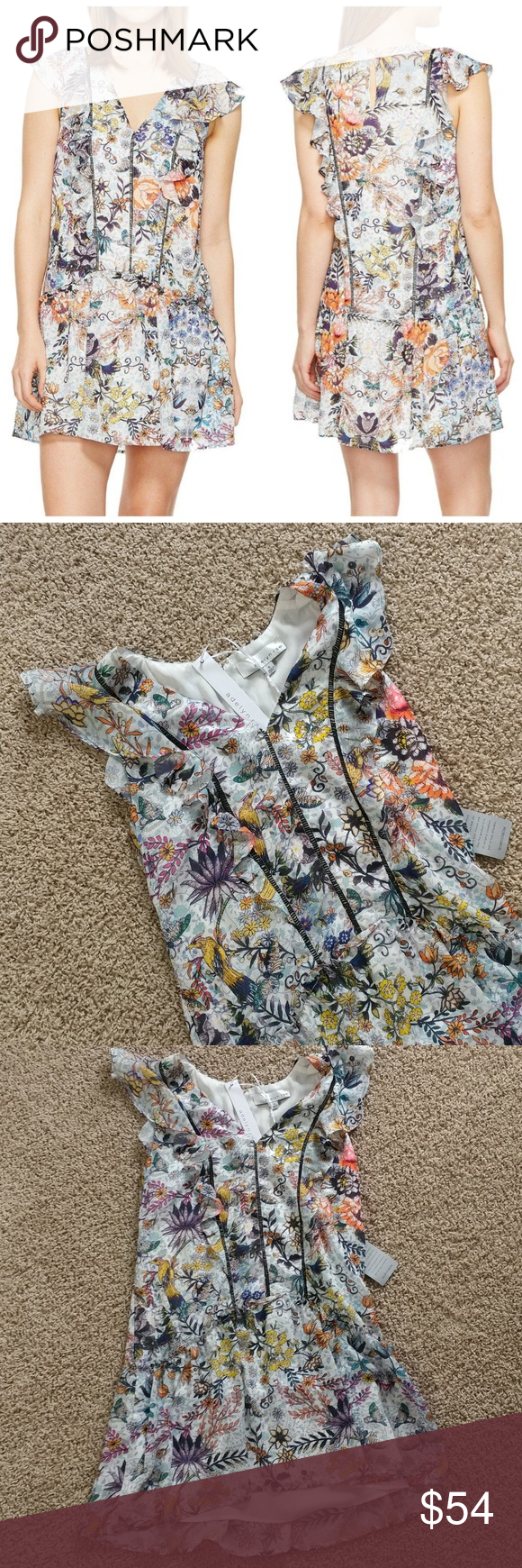 """Adelyn Rae Lydia Printed Floral Frill Shift Dress Brand new with tags Adelyn Rae Lydia Printed Frill Shift Dress size Small. Retails for $120. No defects and from a smoke and pet free home. Shift silhouette, V-neckline. Keyhole cutout and hook closure at nape. Cap sleeves and lattice trim throughout bodice. Perfect to dress up or down.  Shoulder to hem 32"""" long. Armpit to armpit 17"""" across. Adelyn Rae Dresses Mini"""