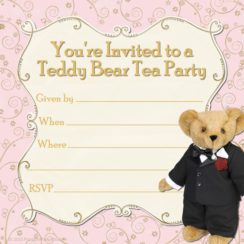free printable party invitations tuxedo teddy bear tea party