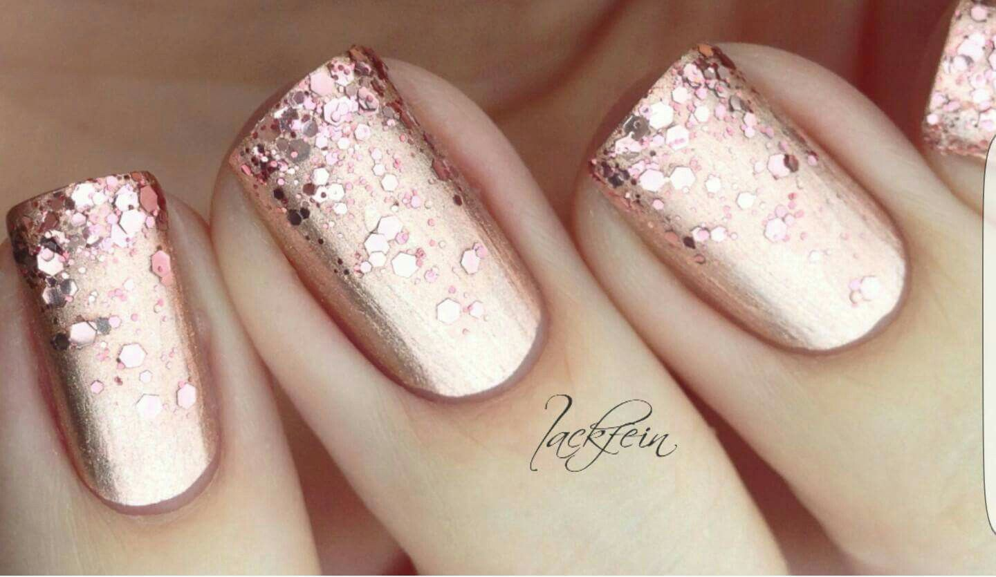 Chrome Nails In Rose Gold Pink Oh So Pretty Nails Chrome Nails