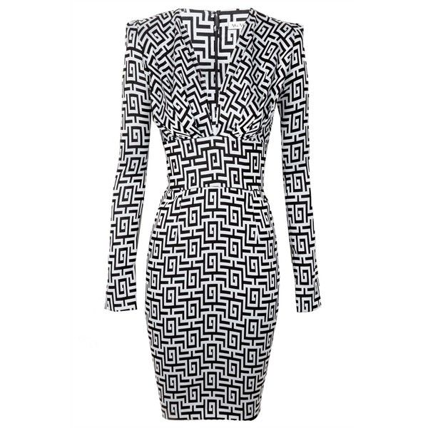 Again When You Dance Long Sleeve Fitted Dress (£88) ❤ liked on Polyvore