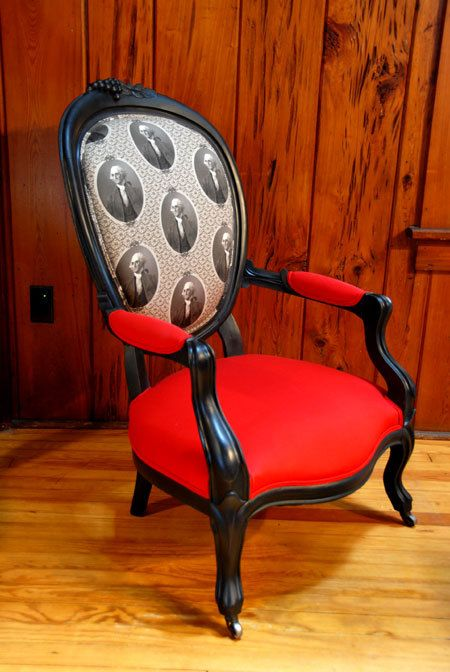 Antique Louis Style Parlor Chair Accent Armchair With Red Cotton U0026 George  Washington Fabric