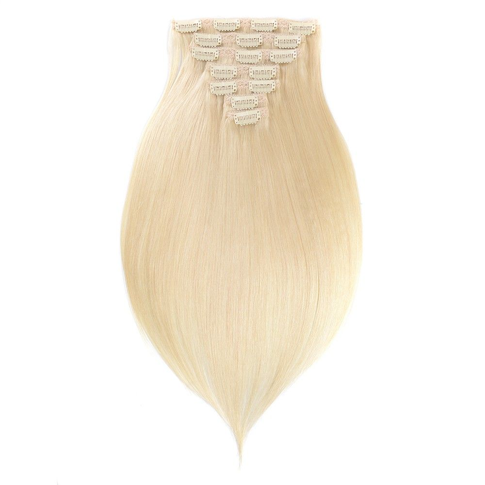 Platinum Blonde Straight Clip-In Remy Human Hair Extensions Set #humanhairextensions