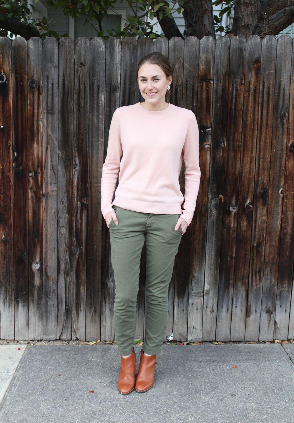 db4e7f1a762 pink sweater + olive green pants