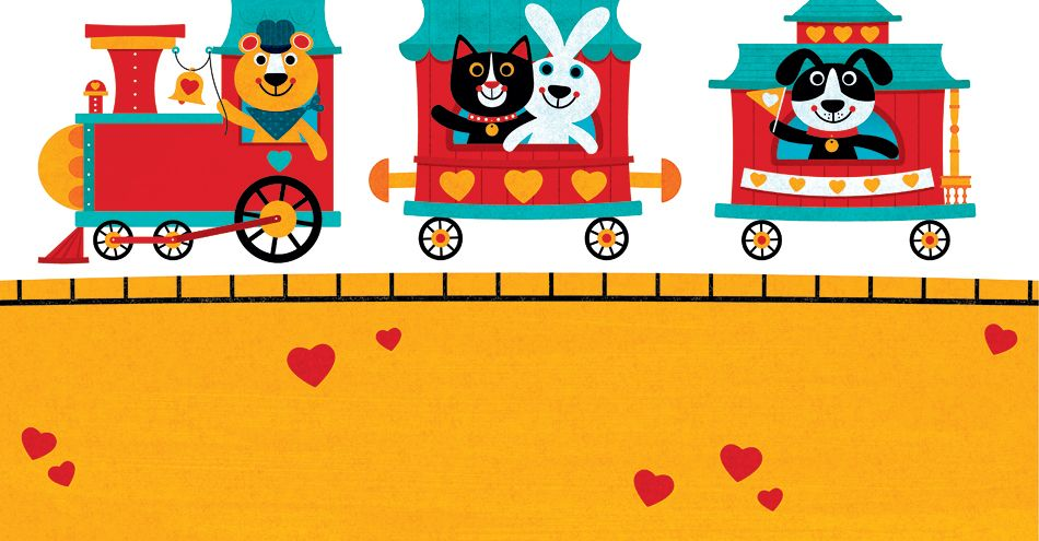 American Greetings Valentine's Day Card Animal Train Illustrated by Steve Mack