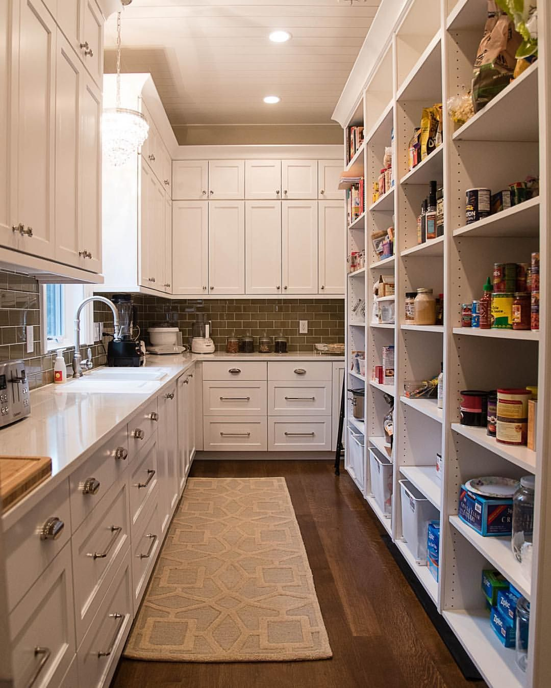 The butler pantry with access to the garage for easy loading. This makes me even want to cook. #pantry #butlerspantry #meaganraeinteriors… #largepantryideas