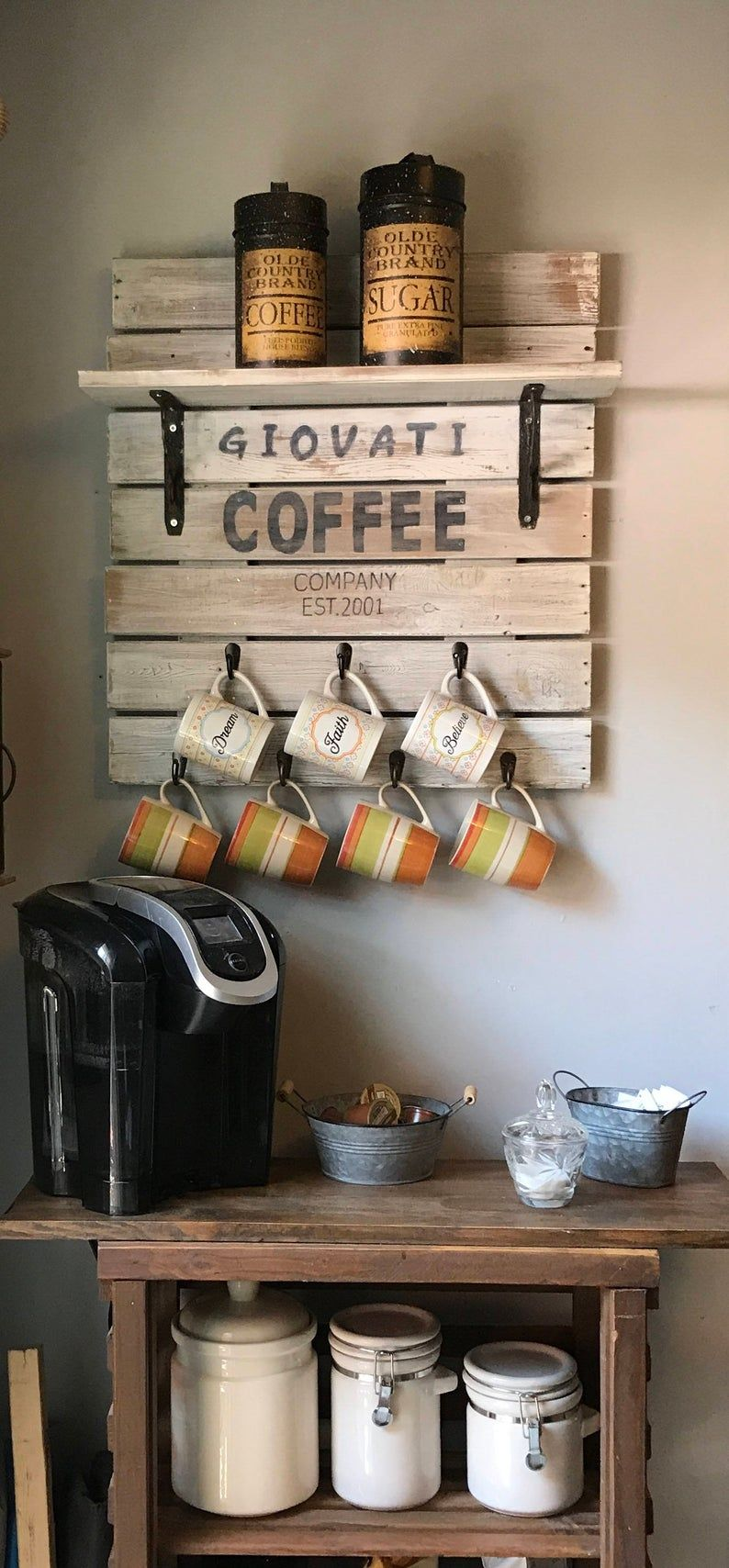 Kitchen Decor Coffee Bar, Coffee Mug Rack, Country Decor, Country Home Decor, Country Kitchen Decor, Coffee Sign For Kitchen