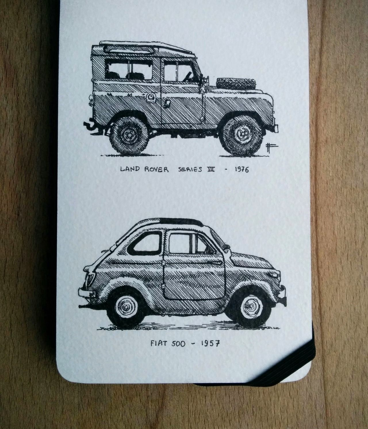 Inktober days 24 and 25. A couple of classic cars. sketchahead.tumbl… ________…