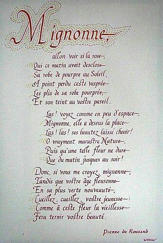 Mignonne Allons Voir Si La Rose Pierre De Ronsard 1524