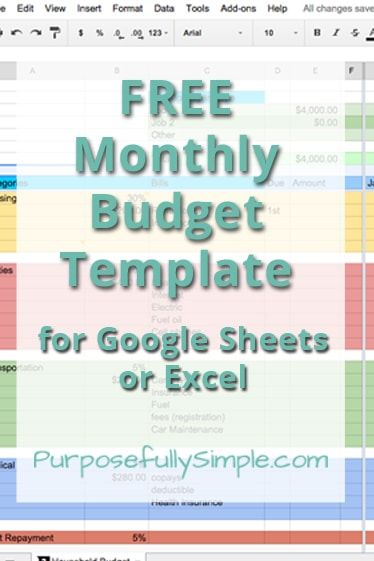Free Monthly Budget Template Pinterest Monthly budget template - google spreadsheet templates free