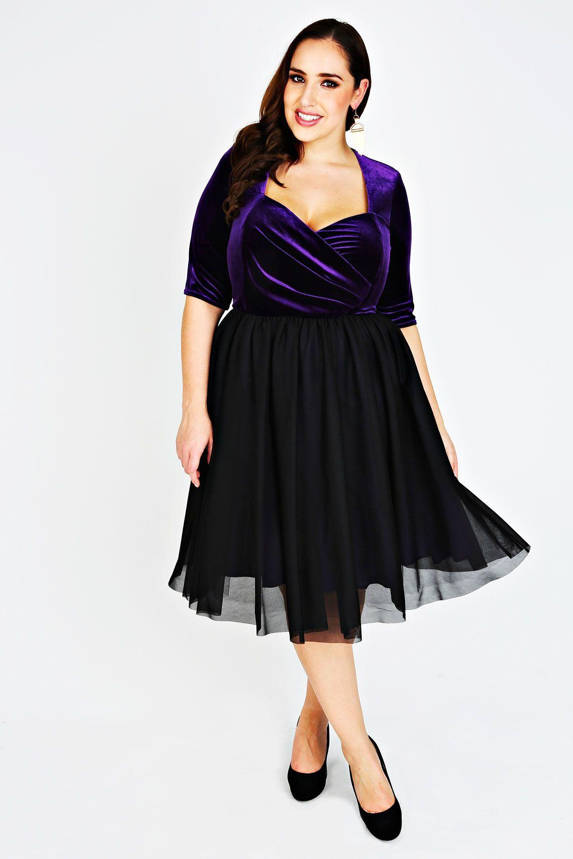 SCARLETT & JO Black & Purple Velvet Prom Dress   Curvy evening ...