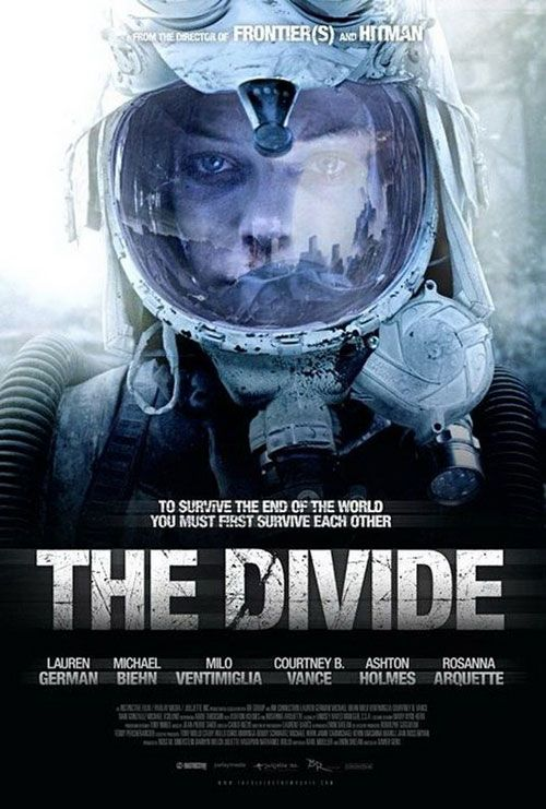 The Divide , starring Lauren German, Michael Biehn, Milo Ventimiglia, Courtney B. Vance. Survivors of a nuclear attack are grouped together for days in the basement of their apartment building, where fear and dwindling supplies wear away at their dynamic. #Drama #Sci-Fi #Thriller