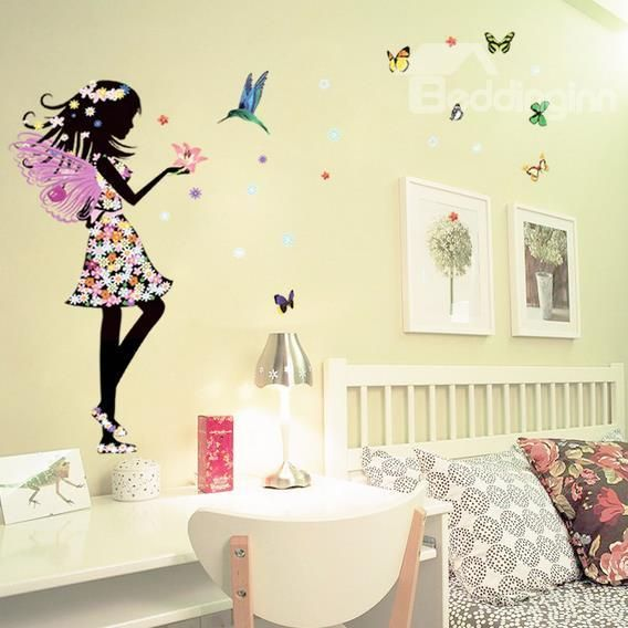 Wonderful Pretty Faery and Butterfly Pattern Removable Wall Stickers ...