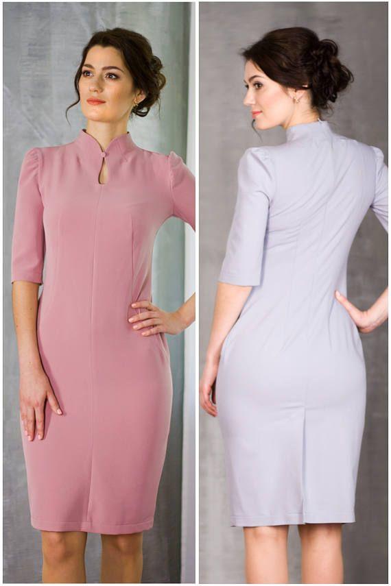 Elegant Purple Dress by TAVROVSKA, Half Sleeve Pencil Knee-Length ...