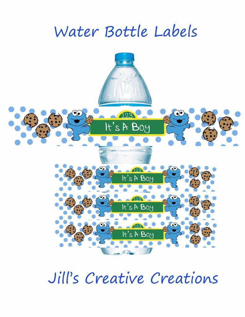 Cookie Monster Baby Shower Water Bottle Labels | Monster baby ...