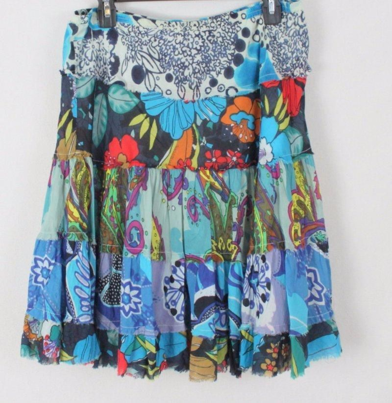 Planet Gold Skirt L size Multi Color Tiered Boho Hippy Cotton Festival Floral #planetgold #Tiered