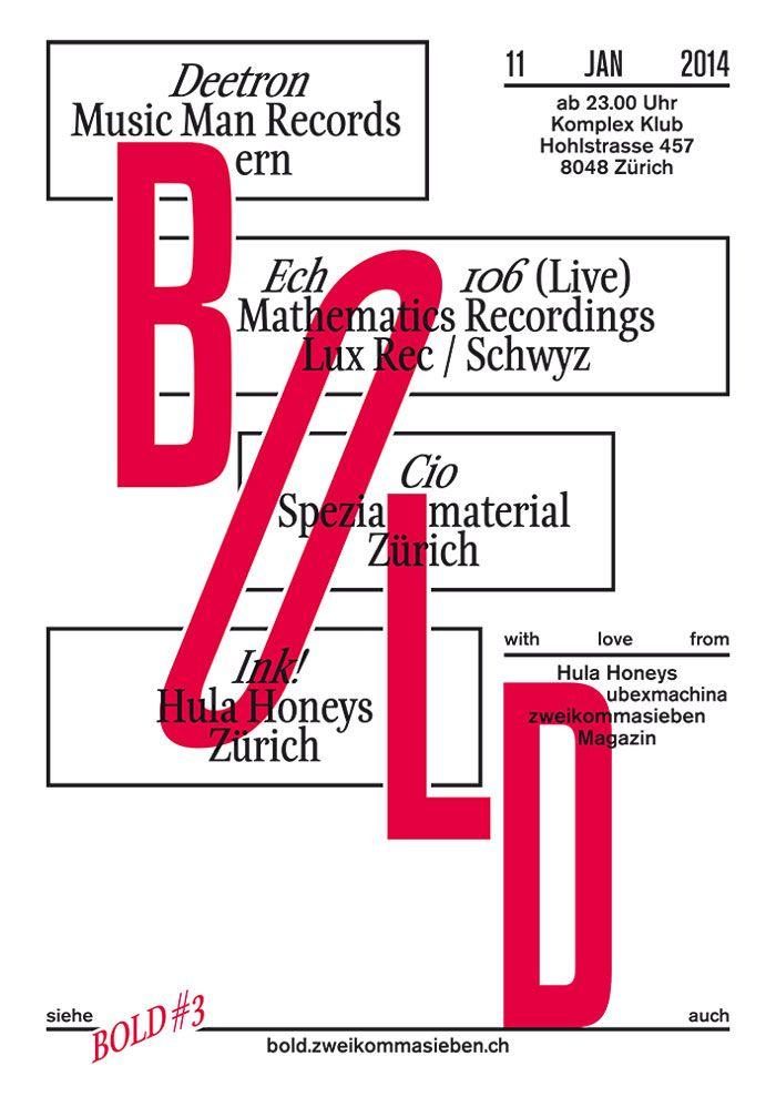 Bold #3 — A2 Plakat — www.bold.zweikommasieben.ch