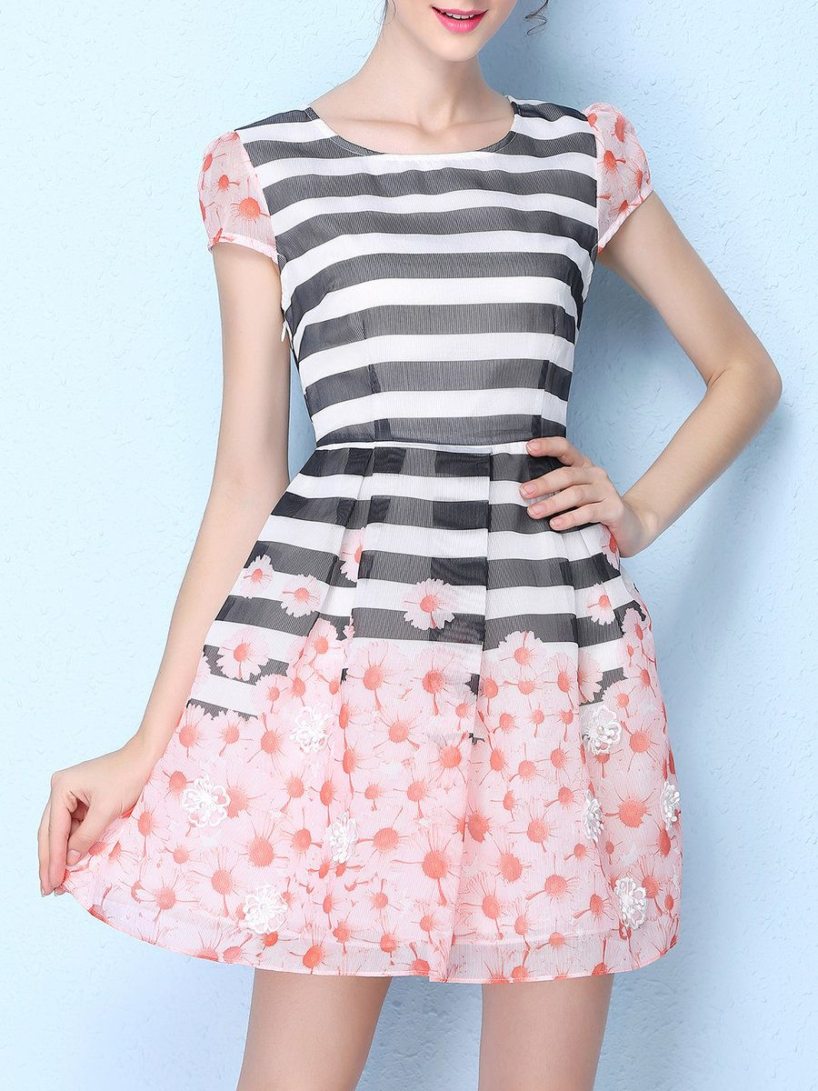 AdoreWe KAN·F Short Sleeve Stripes Girly Crew Neck Mini Dress - AdoreWe.com 0899eba22