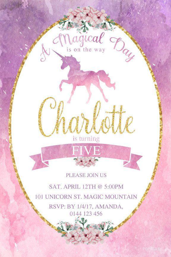Unicorn Birthday Invitations, 1st Birthday Invitation - Rainbow ...