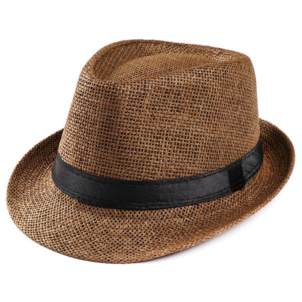 Summer Sunhats for Women Men Jazz Caps Beach Panama Hat Fedoras Straw Cap Visor Hats