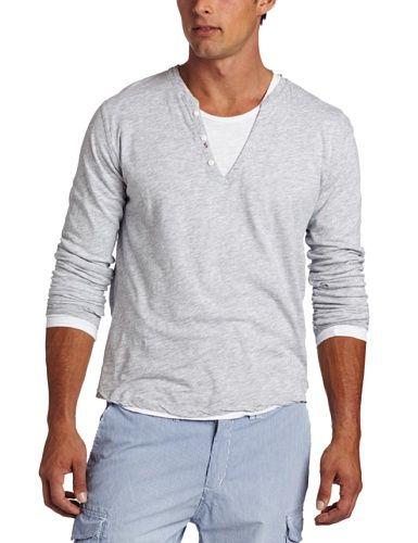 Scotch & Soda Men's Double Layer Granddad Long Sleeve T-Shirt ...