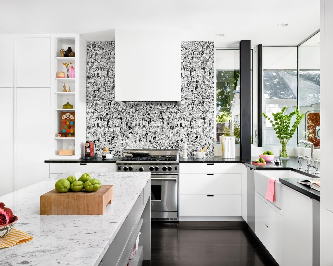 Black And White Kitchen Ideas Home Interior Design Contemporary Kitchen Kitchen Wallpaper Interior Design Kitchen