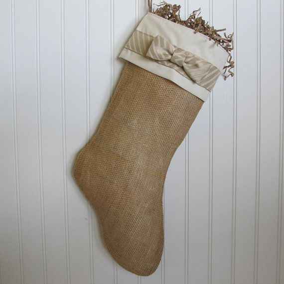Christmas Stocking in Burlap with bow